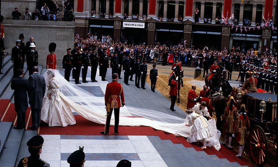 For her big day, Diana wore a stunning silk taffeta gown by Welsh designers David and Elizabeth Emanuel. The dress was embellished with pearls, sequins and antique lace and featured a 25-foot train – the longest in royal history!