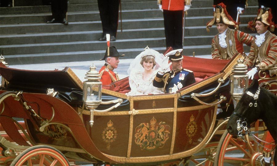 The newlyweds departed the cathedral to the refrain of Elgar's <i>Pomp and Circumstance</i> before taking an open-topped State landau to Buckingham Palace.