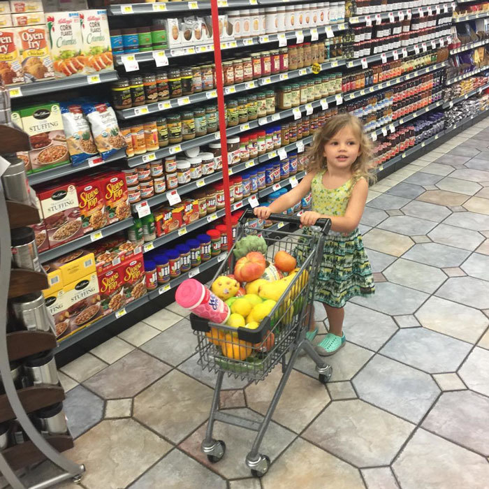 Mommy's little helper! <b>Busy Phillips</b> uploaded a photo of her daughter Birdie Silverstein towing a mini cart of groceries around the supermarket.