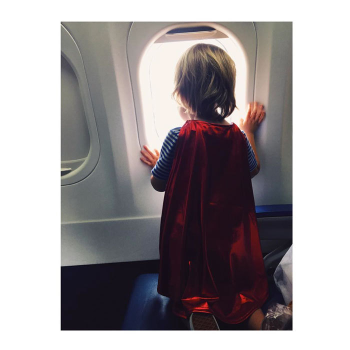 "It's a bird, it's a plane — no, it's Otis Sudeikis! <a href=""http://us.hellomagazine.com/tags/1/olivia-wilde/""><strong>Olivia Wilde</strong></a> posted a photo of her son on an airplane, captioned, ""Travel buddy. #flywhileflying.""