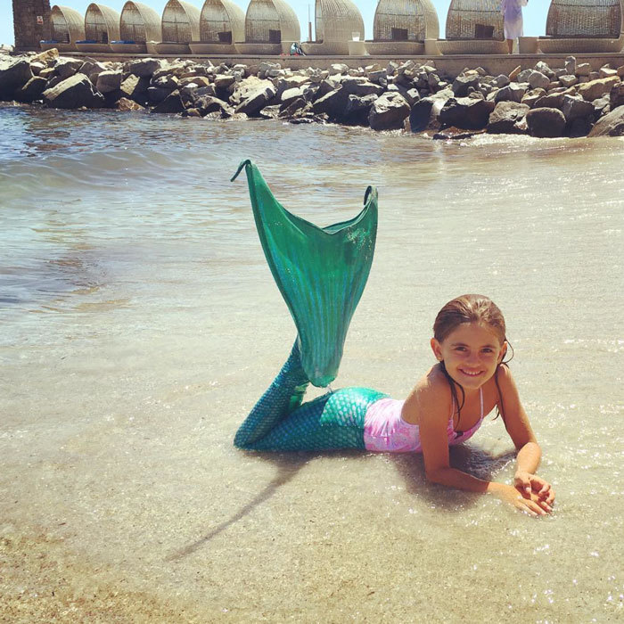 "Move over Ariel, <a href=""http://us.hellomagazine.com/tags/1/alessandra-ambrosio/""><strong>Alessandra Ambrosio</strong></a>'s daughter Anja Mazur was the cutest little mermaid, while lounging on a beach in Mykonos.