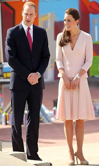 The Duchess teamed a blush pink Alexander McQueen dress with her trusty pair of nude L.K. Bennett pumps for a trip to the skate park in Adelaide, Australia.