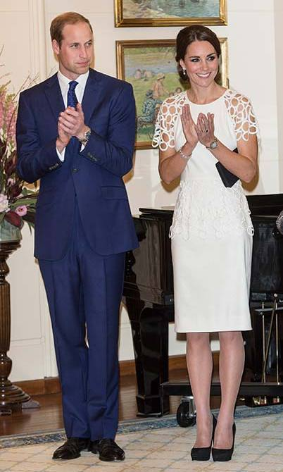 For a reception at Canberra's Government House in Australia, Kate wore a white cocktail dress by Texan designer Lela Rose.