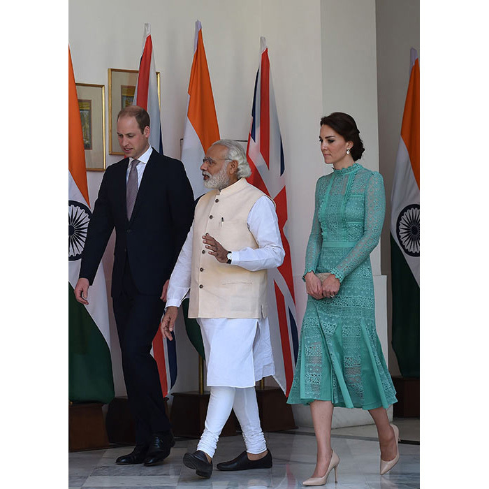 Kate hit another sartorial high as she joined her husband to meet the Indian Prime Minister Narendra Modi. The elegant royal chose a feminine but modern design in a beautiful jade green by one of her favorite designers, Alice Temperley, for the event. She completed her look with a pair of nude heels and her L.K. Bennett 'Natalie' straw clutch bag.