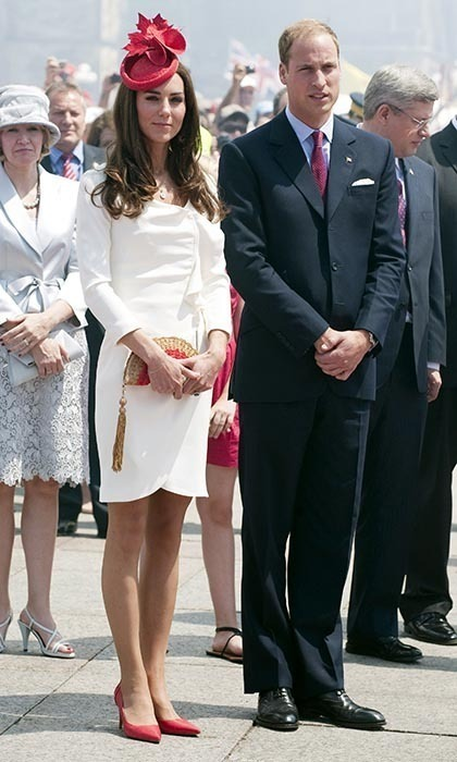 In 2011 for Canada Day celebrations on Parliament Hill, Kate delighted the crowds by wearing the country's national colors, pairing her white dress with red L.K. Bennett heels and a jaunty Sylvia Fletcher at Lock and Co. hat, which featured a maple leaf emblem. Prince William coordinated with his wife by sporting a festive red tie.