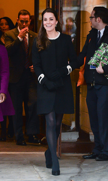 "The British royal channeled her inner New Yorker wearing a black military-style ""Washington"" coat by Goat for her visit to Harlem's Northside Center for Child Development.