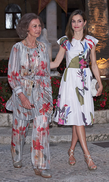 Queen Letizia of Spain and her mother-in-law Queen Sofia both opted for summer prints for a special reception at the Almudaina Palace on the island of Majorca.