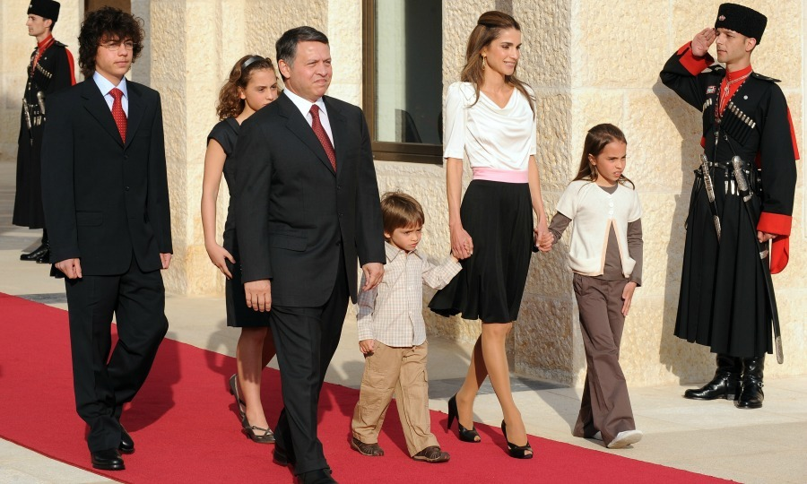 May 2009: Fashionable squad! Rania and her family showed off their coordinated style as they welcomed Pope Benedict XVI in Amman.