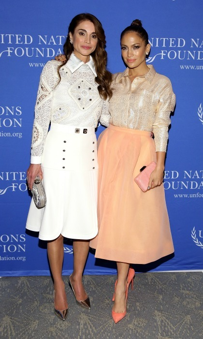 September 2015: Another meet-up with Jennifer Lopez!  Here, the two are looking equally gorgeous in blouses and A-line skirts during the UN Foundation's Gender Equality Discussion in NYC. 