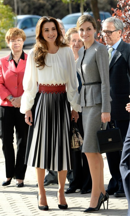 November 2015: The Queen wore an eye-catching skirt with a pop of red, during her visit to with Queen Letizia of Spain in Madrid. 