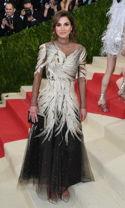 May 2016: The Queen stunned in a feathered Valentino gown during the 2016 Met Gala in NYC. 
