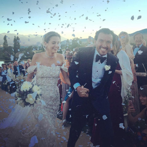 "The bride and groom said ""I do"" as the sun was setting at the Palatchi family's estate in Puigcerda, in Girona, northern Spain. 