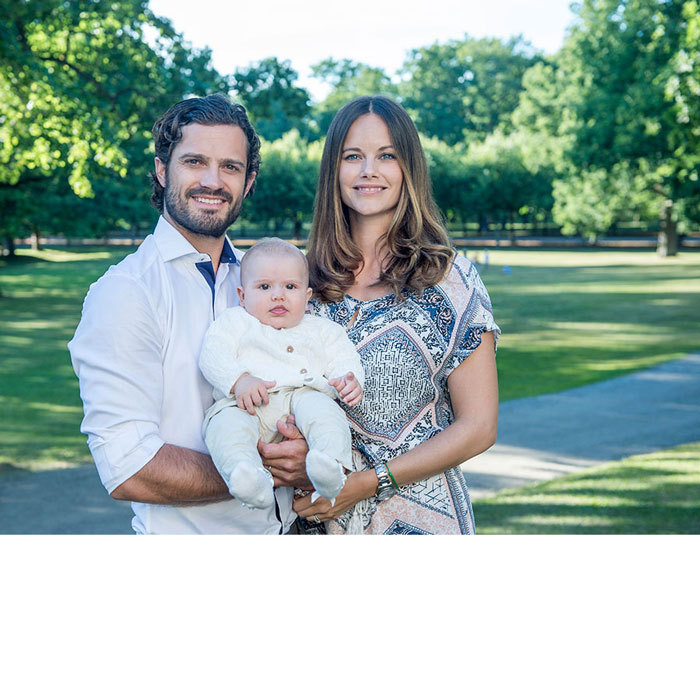 Alexander's baptism announcement was marked by a new family portrait of the little Prince with his parents, Carl Philip and Sofia. Unlike their previous family portraits, the couple's little boy was wide awake in the arms of his parents.