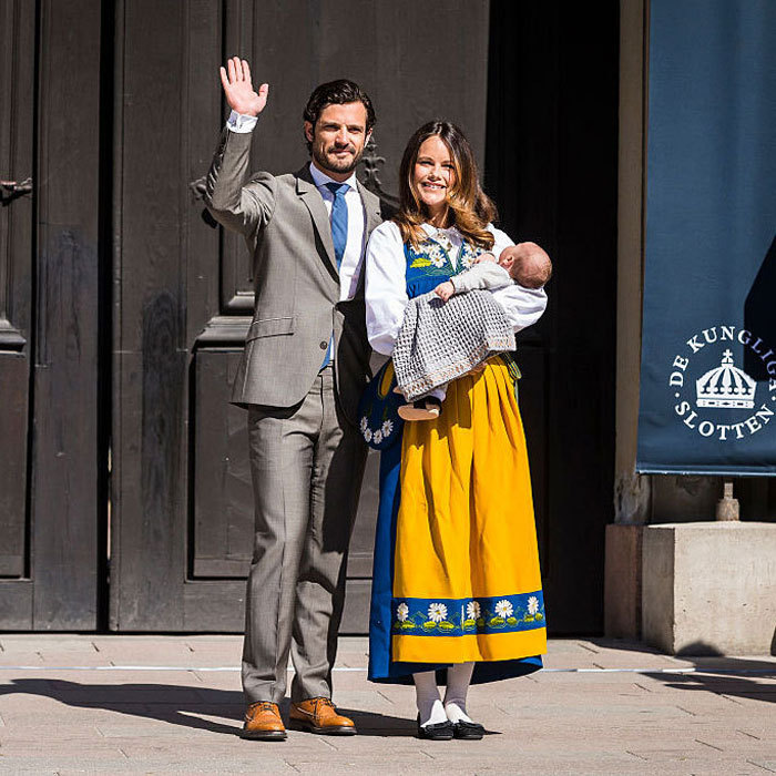 Prince Carl Philip and Princess Sofia's son made his public debut outside the Royal Palace in Stockholm during Sweden's 2016 National Day festivities.  
