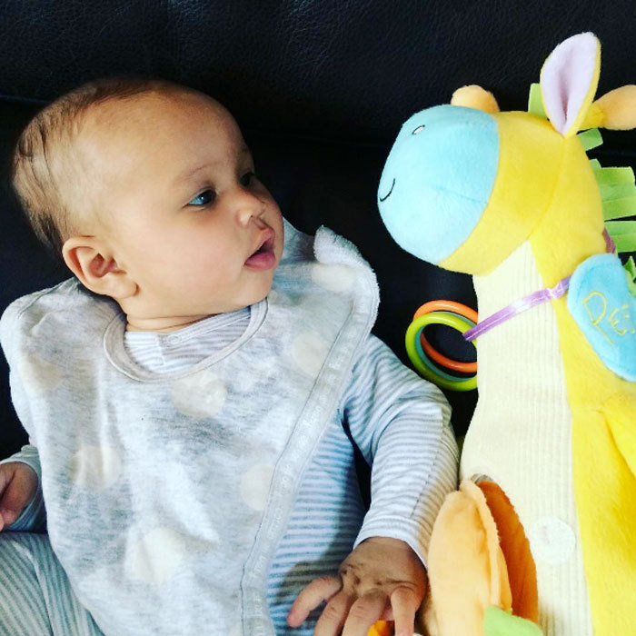 "Say hello to Luna's little friend! <a href=""http://us.hellomagazine.com/tags/1/chrissy-teigen/""><strong>Chrissy Teigen</strong></a> posted a precious photo of her baby girl playing with a stuffed animal. Attached to the picture, the model wrote, ""They have full conversations.""