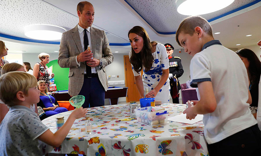 At the end of their visit, William and Kate were given a personalized memory jar from young brothers Jamie and Ethan Coniam, who are patients at the hospice.