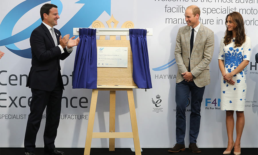On their third outing of the day the Duke and Duchess of Cambridge attended the Hayward Tyler Center of Excellence for manufacturing. The couple were honored with unveiling a plaque to commemorate the 25th year of the center.