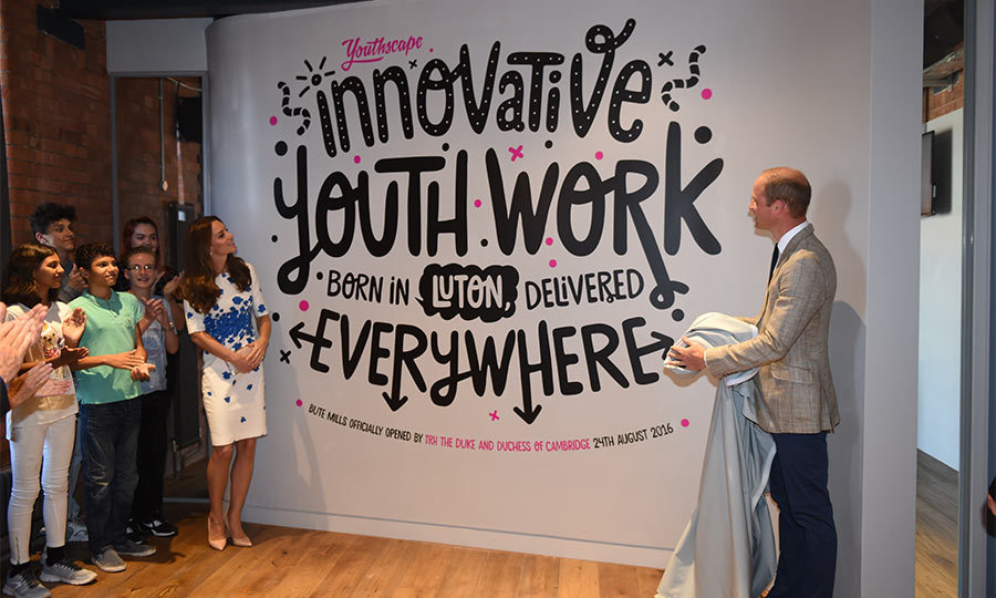 William and Kate were also shown the Innovation Wall, where the charity develops new ideas and models. Before leaving, they unveiled a wall to commemorate the official opening of Youthscape's new home.