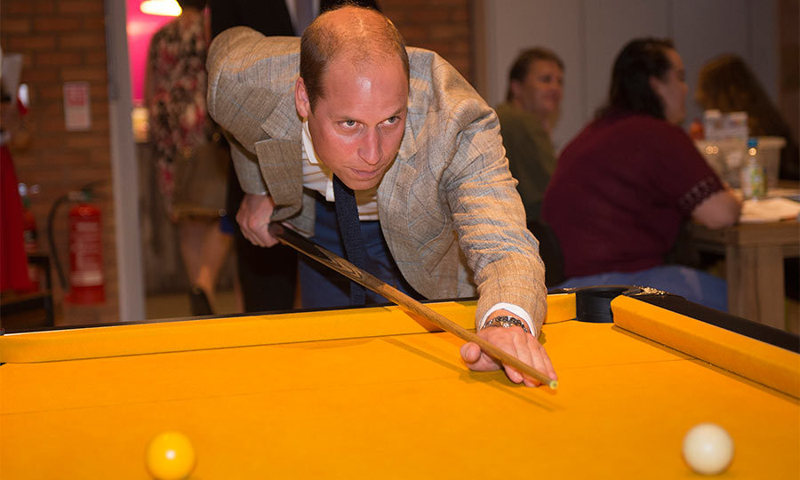 The 34-year-old showed off more of his talents as he enjoyed a game of pool with the members of the charity.