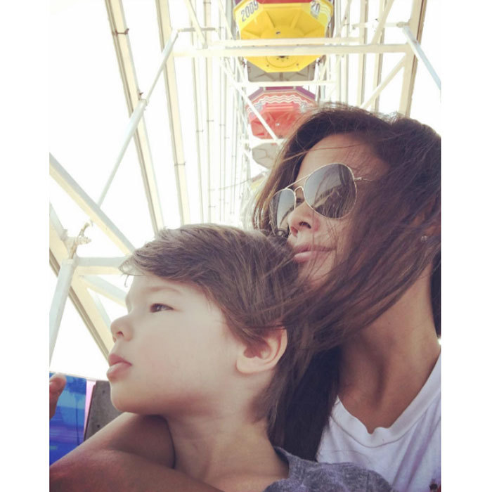 "And around they go! <b>Vanessa Lachey</b> had a special ""day date"" on a ferris wheel with her ""other man,"" son Camden Lachey.