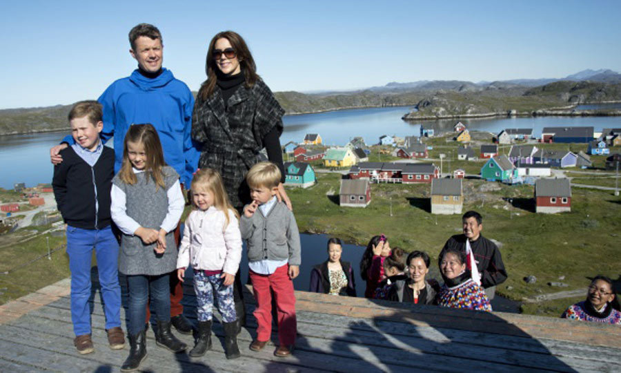 The gang is all here! Prince Frederick and Princess Mary posed with the twins and their siblings Princess Isabella and Prince Christian during a family trip to Greenland in August 2014. 