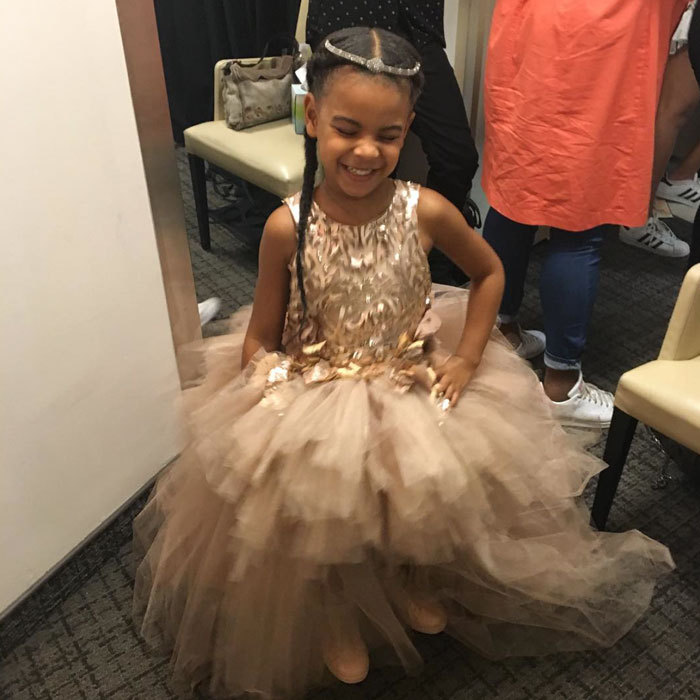 "A dress fit for a princess! Blue Ivy accompanied her mom <a href=""http://us.hellomagazine.com/tags/1/beyonce/""><strong>Beyoncé</strong></a> to the 2016 VMAs in New York City wearing a $10,950 dress by Mischka Aok, paired with $565 high top Giuseppe Zanotti sneakers. 