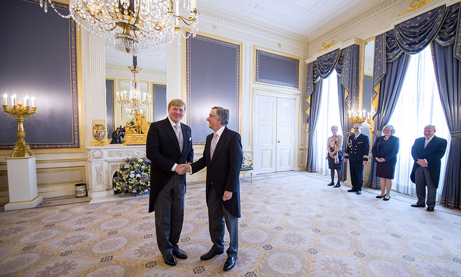 The regal interior of Noordeinde Palace in The Hague served as the backdrop as Dutch King Willem-Alexander met with German ambassador Dirk Brengelmann. 