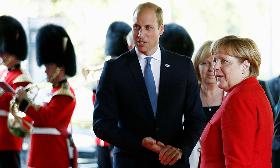 Prince William chatted with German Chancellor Angela Merkel as they marked the 70th anniversary of North Rhine-Westphalia on August 23, 2016 in Duesseldorf, Germany. 