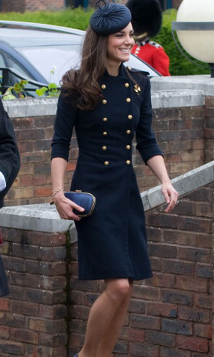 There's no rest for the Duchess! Soon after the wedding celebrations, Kate attended the Irish Guards Medal Parade in Windsor, England. Here is a sleek double breasted McQueen coat.