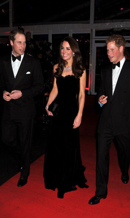 William and Kate, along with brother-in-law Harry, look striking in black for a charity event.