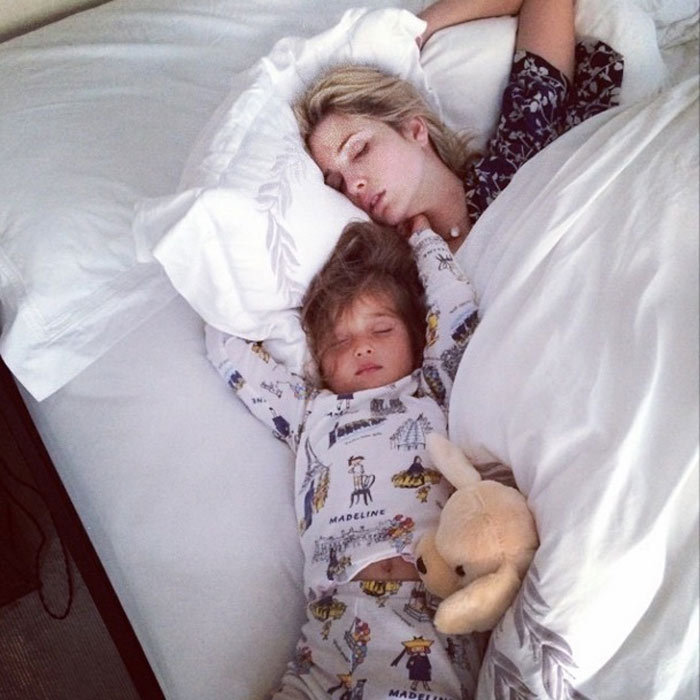 Husband Jared Kushner snapped this photo of his wife and daughter sleeping, before Arabella's third birthday, when the excited bday girl ended up in her parents bed. 