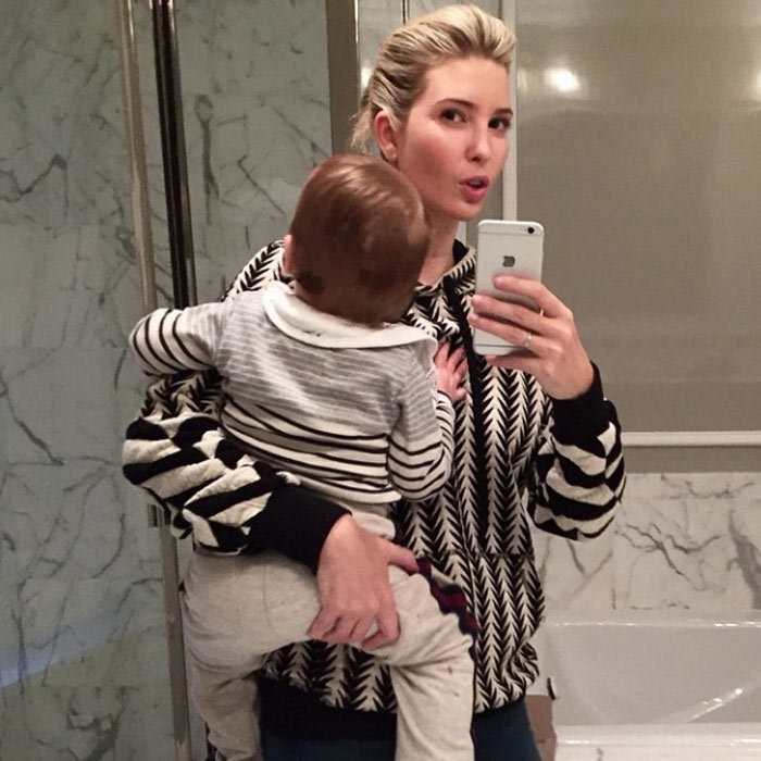 Ivanka showed off her and little Joseph's twinning moment with a mirror selfie. 