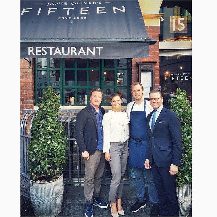 "Jamie Oliver welcomed three very special guests to his Fifteen restaurant in London – Sweden's Crown Princess Victoria, Prince Daniel and their five-month-old son Prince Oscar. The celebrity chef proudly shared a photo of himself with the royal couple on Instagram on Tuesday, writing: ""What a pleasure to have Princess Victoria of Sweden visit @jamiesfifteen today with Prince Daniel and their beautiful newborn baby Oscar.