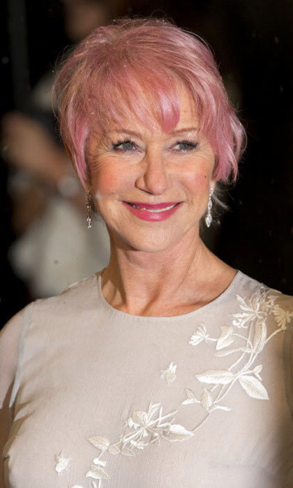 "Pink looks good at any age! <a href=""http://us.hellomagazine.com/tags/1/helen-mirren/""><strong>Helen Mirren</strong></a> absolutely stuns with a rose gold color to match her lipstick.