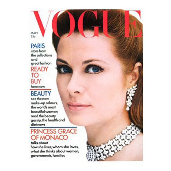 <b>Princess Grace of Monaco</b> looked regal on the cover of Vogue's March 1972 issue. 