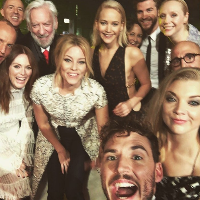 Sam Claflin, Woody Harrelson, Julianne Moore, Donald Sutherland, Elizabeth Banks, Jennifer Lawrence, producer Nina Jacobson, Liam Hemsworth, Gwendoline Christie, Stanley Tucci and Natalie Dormer