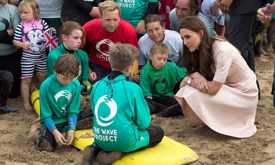 The Duchess met with children from The Wave Project, which uses surfing to improve children's mental wellbeing.