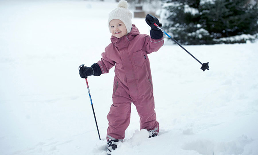 February 2015: Hitting the slopes! Estelle had some fun in the snow during her third birthday celebration at Haga Palace. 