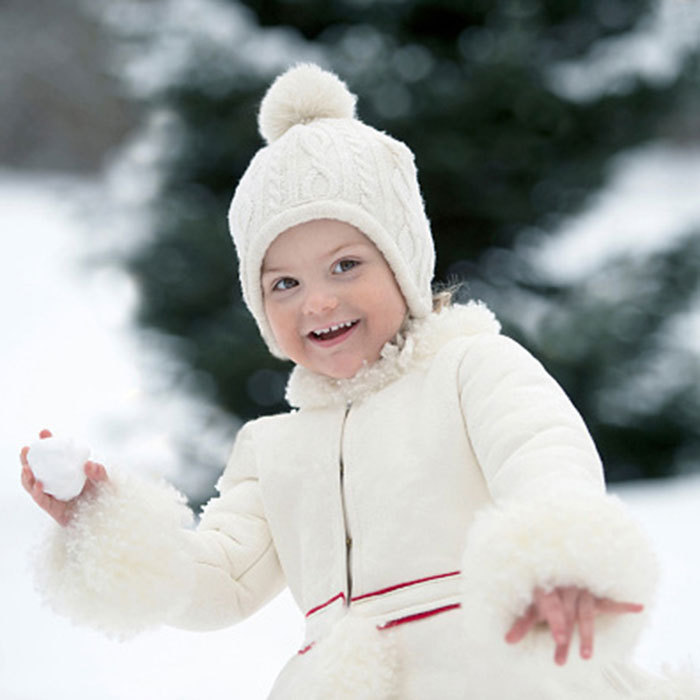 February 2015: Snow angel Estelle enjoyed a little snowball fight as she turned 3.