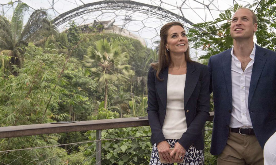 However the pair's visit to the Isles was delayed earlier in the day due to bad weather. While they waited the rain out, the couple visited the Eden Project, an educational charity that features a Rainforest Biome (the world's biggest undercover rainforest).