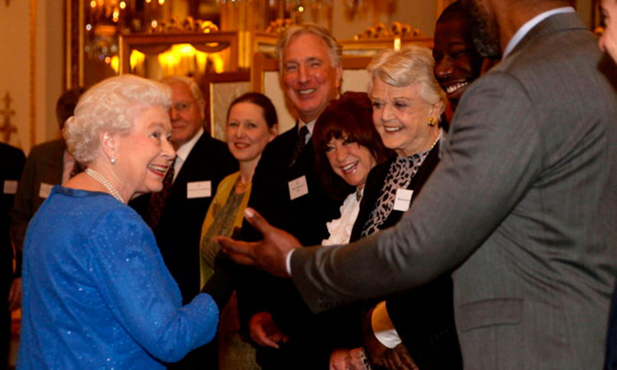 "A well-heeled group including <a href=""http://us.hellomagazine.com/tags/1/alan-rickman/""><strong>Alan Rickman</strong></a>and Angela Lansbury basked in the Queen's attention during a Dramatic Arts reception at Buckingham Palace circa February 2014.