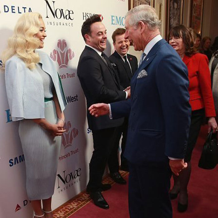 "The Prince of Wales chatted with a demure<a href=""http://us.hellomagazine.com/tags/1/rita-ora/""><strong>Rita Ora</strong></a>at The Prince's Trust Celebrate Success Awards at London Palladium in March 2016.