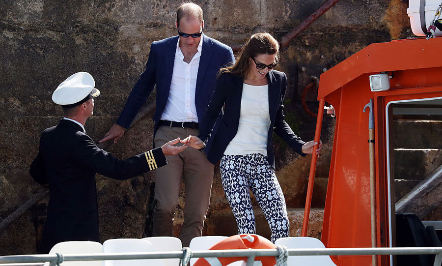 Kate received a helping hand to board the vessel.