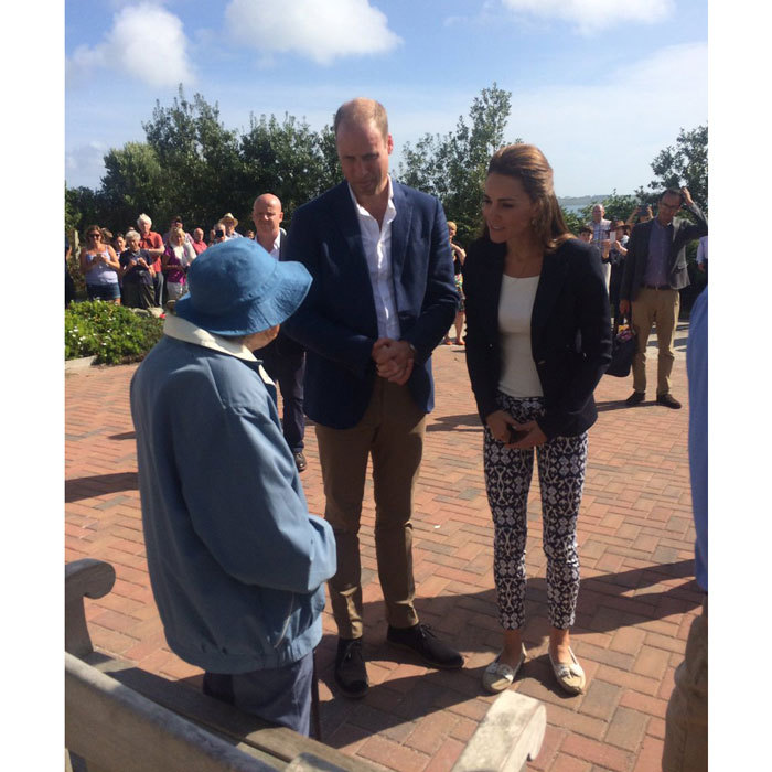 For their visit to St. Martin's Community Hall, the Duke and Duchess were greeted by the island's oldest resident, Gladys Wilkins.