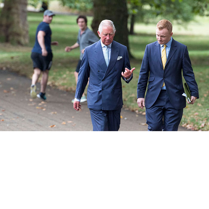 Double take! Two joggers turned around once they realized they ran past Queen Elizabeth's son in London's Green Park.
