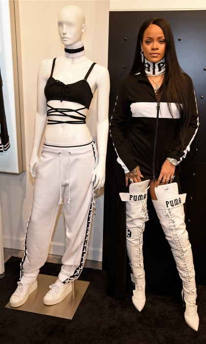 Rihanna posed with a mannequin rocking pieces from her FENTY PUMA by Rihanna line at the pop-up shop.