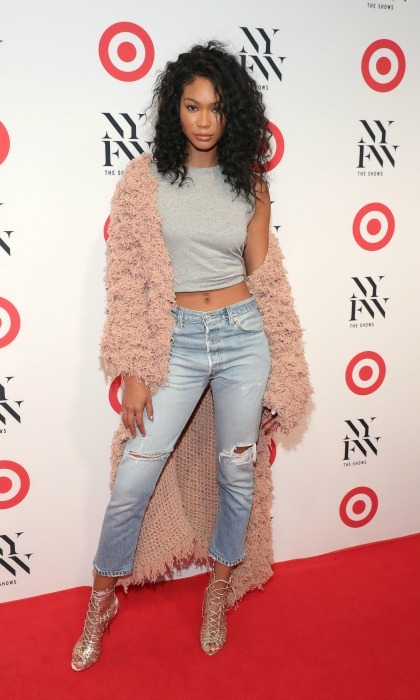 September 6: Chanel Iman layered her look for the Target + IMG New York Fashion Week Kick-Off Event at The Park at Moynihan Station.