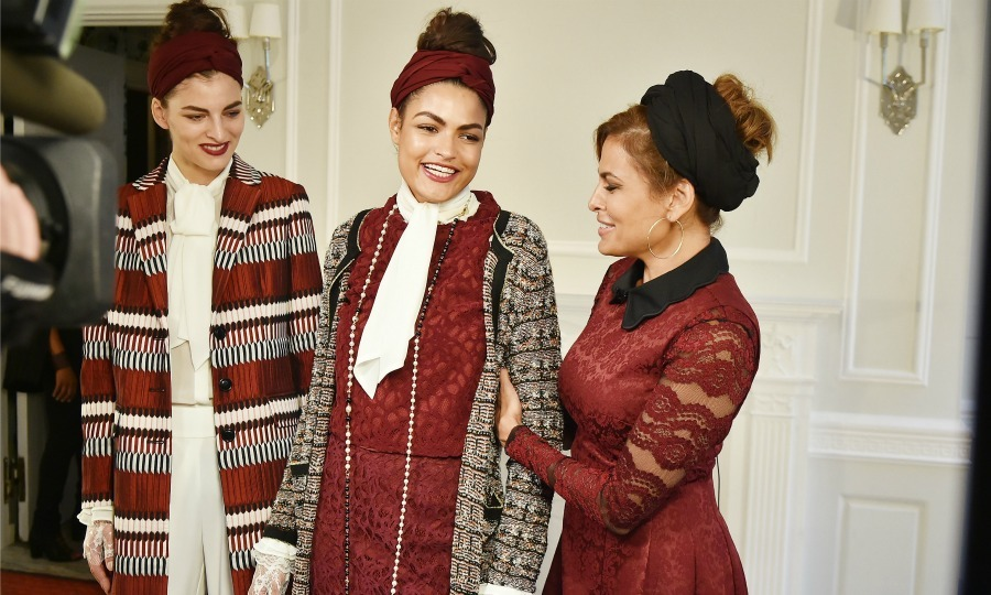 "Eva Mendes gave her models a little pre-show touch up before her Eva Mendes x New York & Comapny ""See Now, Buy Now"" fashion show. 
