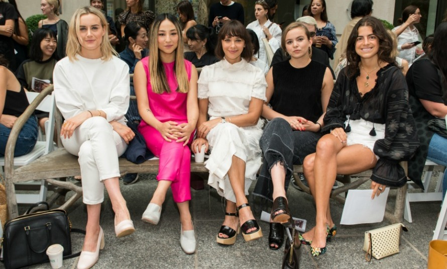Taylor Schilling, Greta Lee, Rashida Jones, Morgan Saylor and Leandra Medine sat front row during the  Rachel Comey fashion show.
