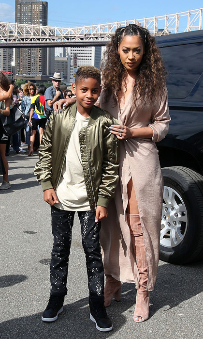 La La Anthony and her son Kiyan made a stylish mother-son pair at Kanye's Yeezy 4 show with Adidas in New York City. 